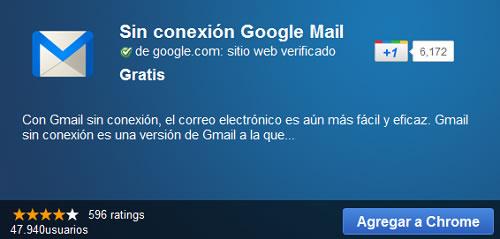gmail sin conexion chrome web store