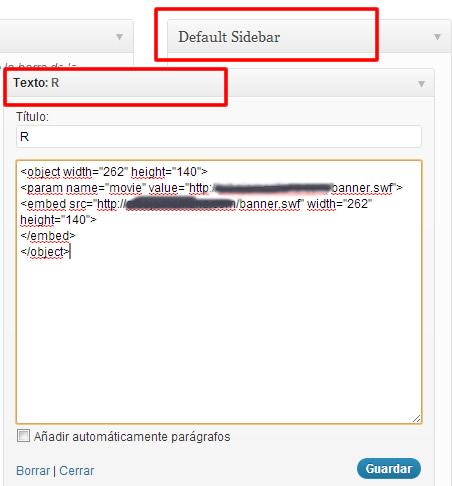 widget del tipo texto o html